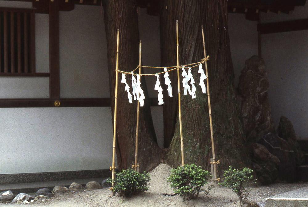 「神籬(ひもろぎ)」神社や神棚以外の場所で臨時にカミを迎えるための場所。結界の内側は清浄で空虚に保たれる。