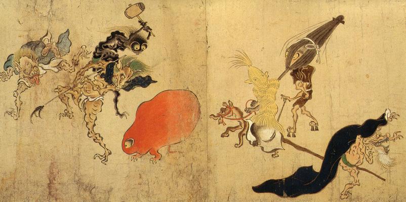 「百鬼夜行絵巻」。平安時代には、年を経た道具や動物が鬼=妖怪になって行列をすると考えられていた。